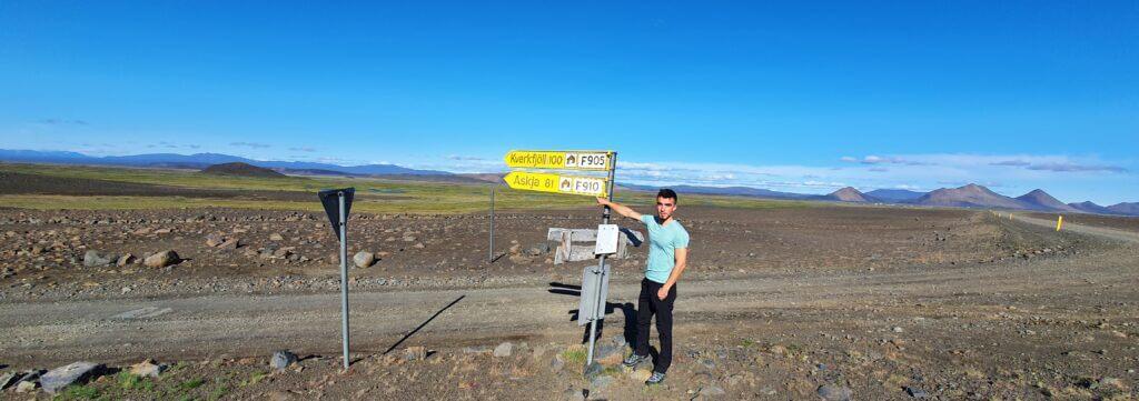 Möðrudalsleið junction with F905