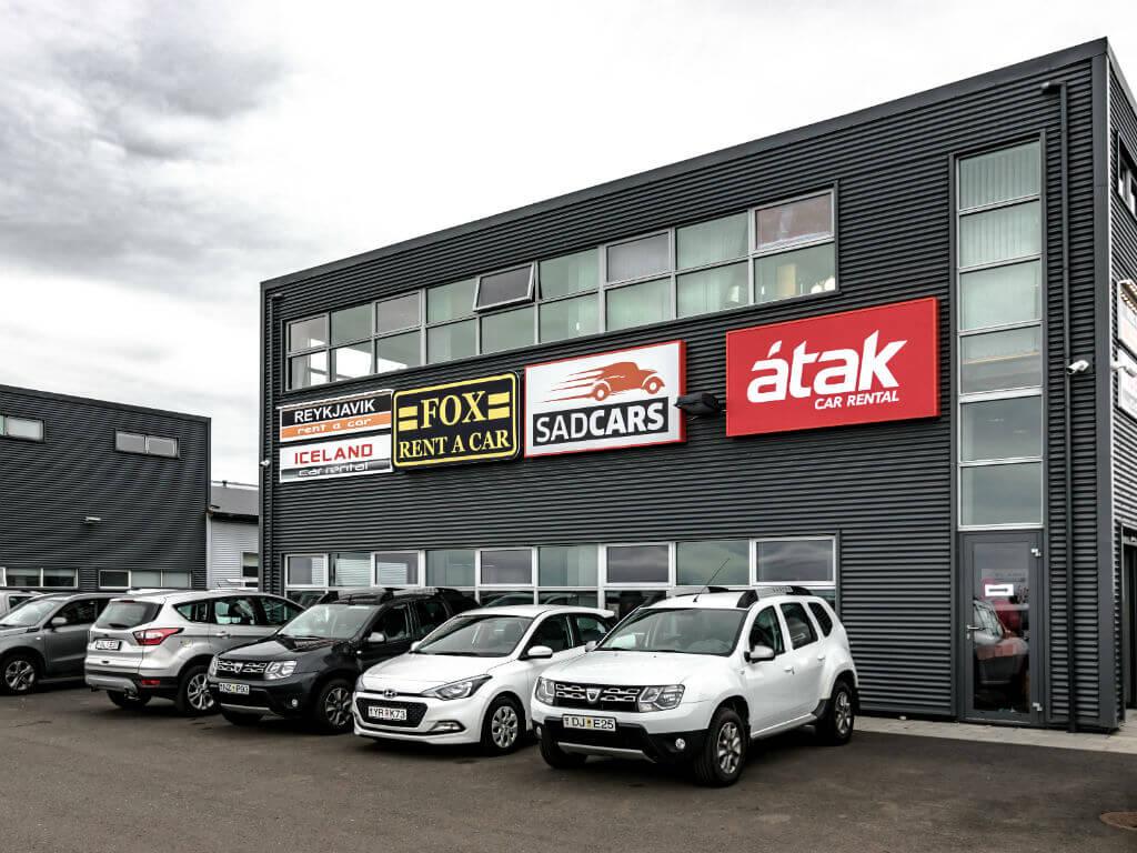 Car rental lot Reykjavik airport